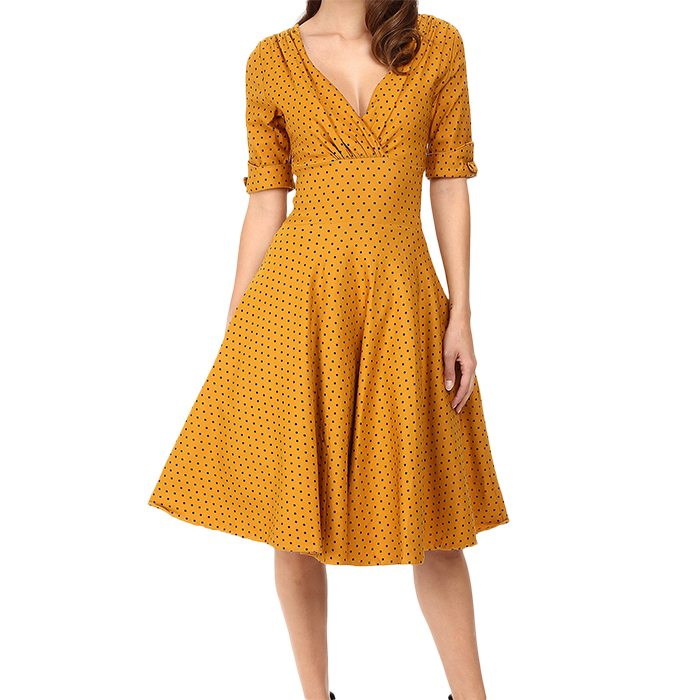 Vintage 3/4 Sleeve Delores Swing Dress