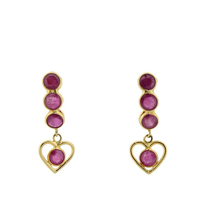 Vintage Heart Ruby Dangle Earrings
