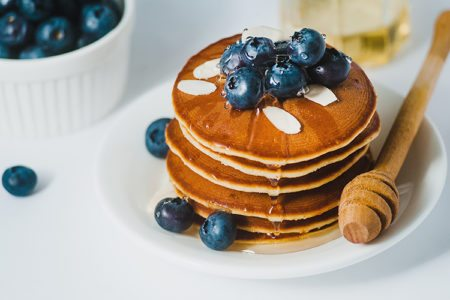 Greek Yogurt Pancakes with Blueberries & Honey