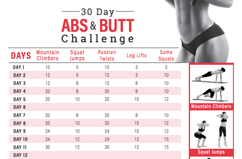 30-Day Abs and Butt Challenge Calendar