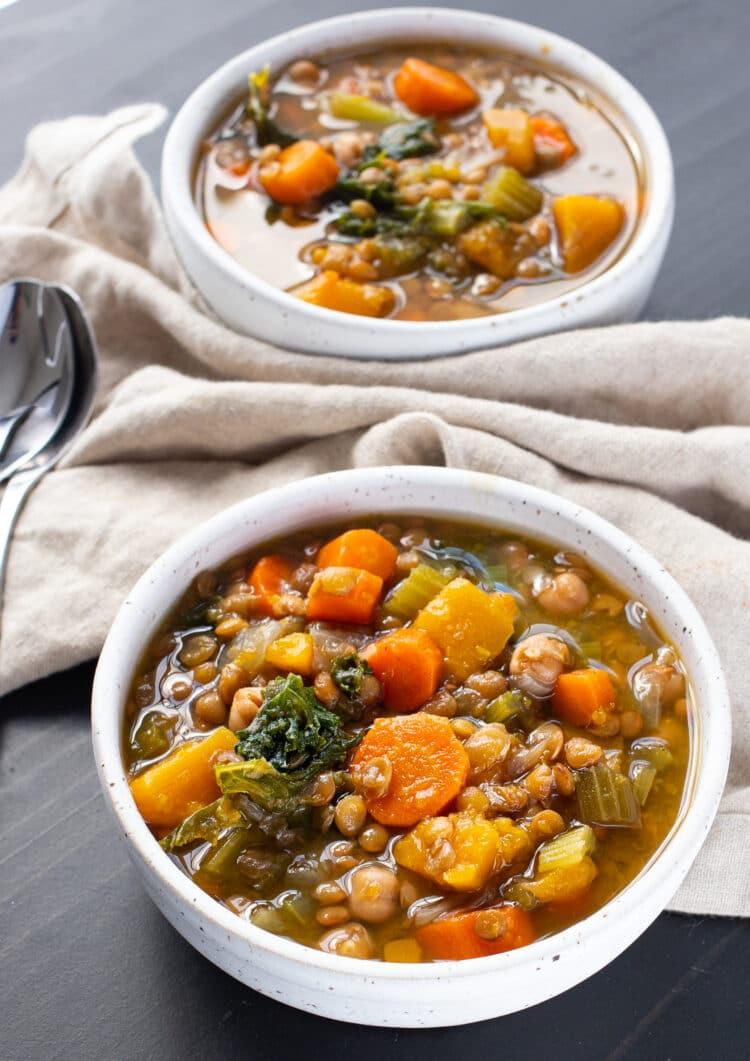 Enjoy our slow cooker lentil stew on meatless monday for a vegetarian dinner option!
