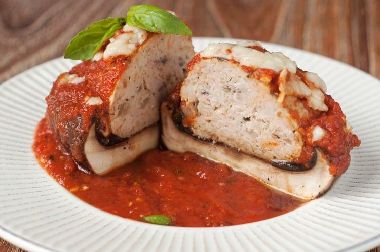 Turkey Meatball Stuffed Portobello Mushroom