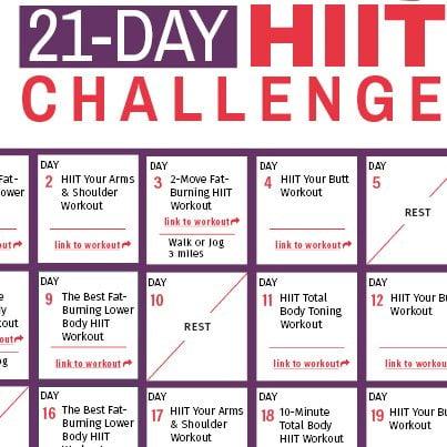 21 Day HIIT Challenge Calendar