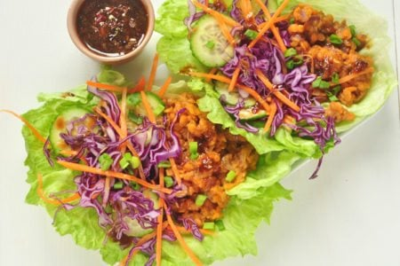 Asian Vegetable Lettuce Wrap with Peanut Sauce