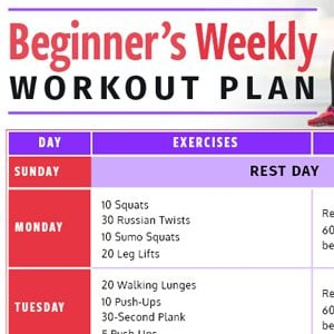 Beginners Weekly Workout Plan