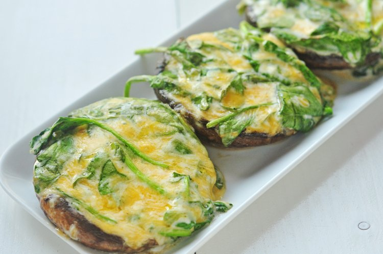 Grilled Spinach Stuffed Portobella Mushroom Tops