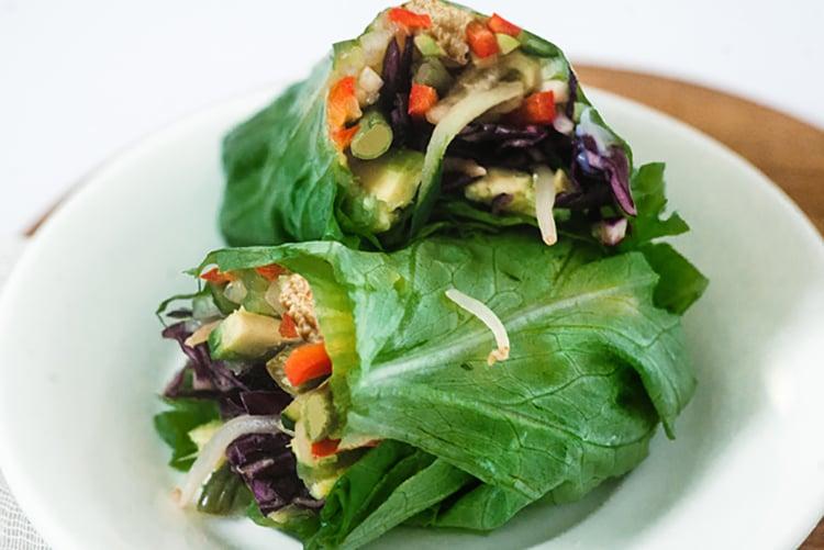 Hummus and Vegetable Collard Greens Wrap