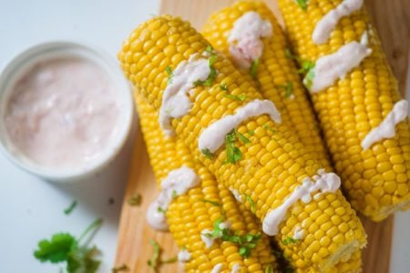 Instant Pot Corn on the Cob with Chipotle Sauce