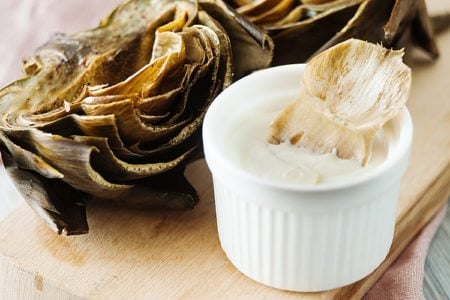 Roasted Artichoke with Skinny Aioli