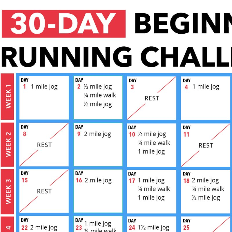 30 Day Beginner's Running Challenge Calendar