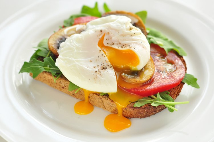 Arugula, Mushroom, and Tomato Poached Egg Toast