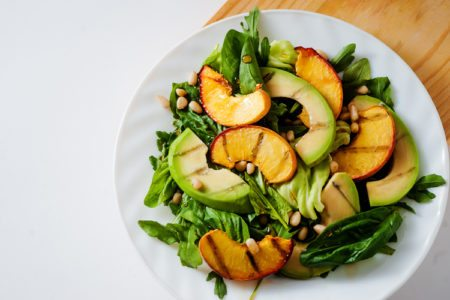 Grilled Avocado & Peach Salad