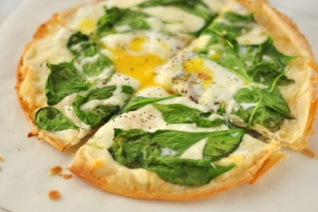 Thin Crust Spinach and Egg Breakfast Pizza