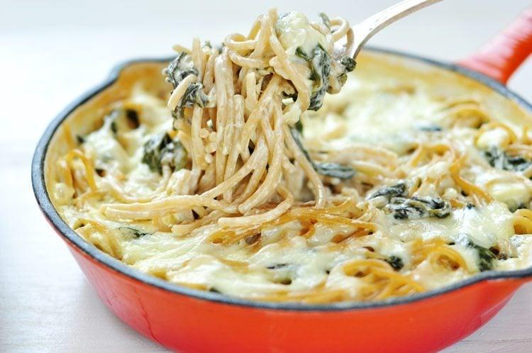 5 ingredient spinach pasta alfredo