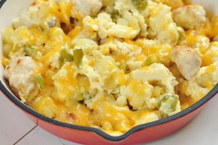 Easy Skillet Potatoes with Eggs and Turkey Sausage