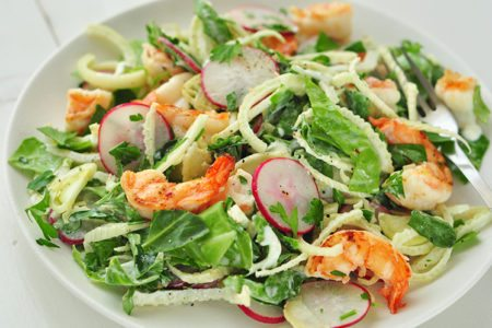 Grilled Shrimp and Radish Chopped Salad