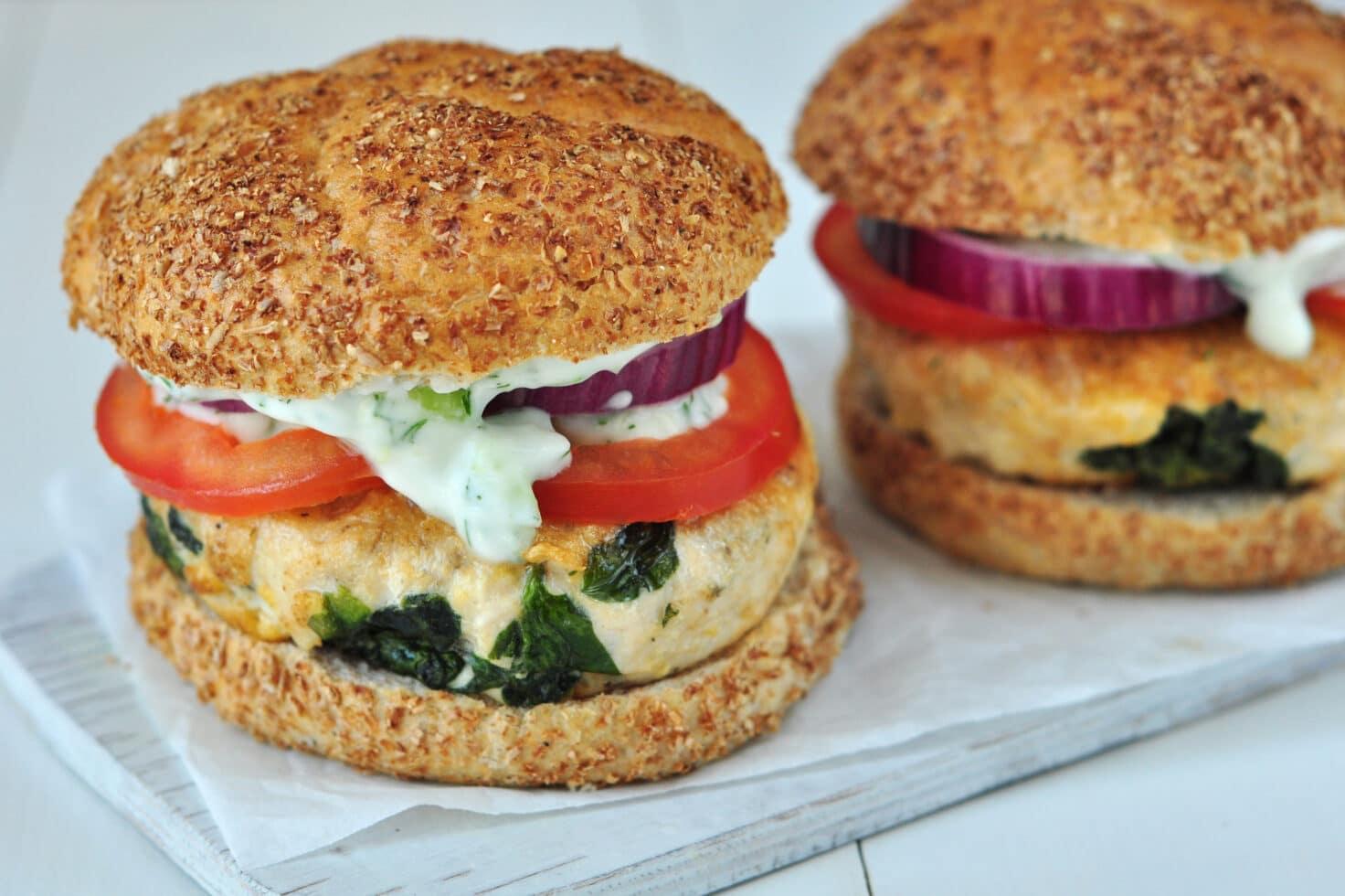 Mediterraean flavors such as spinach, feta, and tzatziki sauce make for one yummy turkey burger.