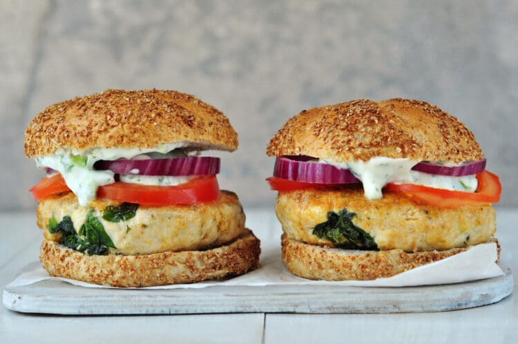 Our Spinach and Feta Turkey Burger with Tzatziki Sauce recipe is so much tastier than boring old hamburgers on the grill.