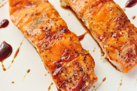 Steamed Salmon with Sweet Ginger Soy Glaze