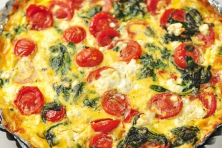 Hashbrown, Spinach, Tomato and Feta Pie