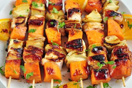 Orange Glazed Chicken & Sweet Potato Kebabs