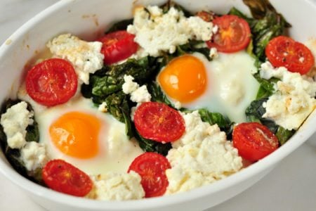 Baked Kale and Eggs with Ricotta