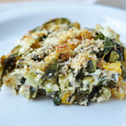 Our baked zucchini, spinach, and feta casserole is loaded with savory flavors!