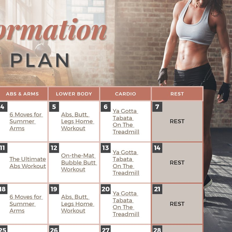 Body Transformation Workout Plan Calendar