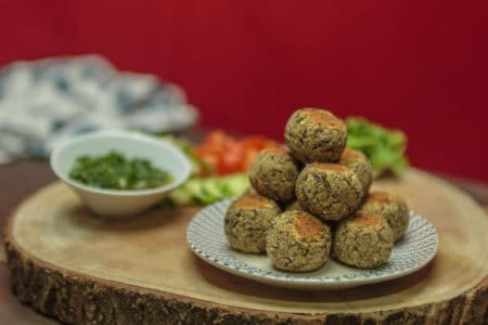 "Vegetarian White Bean Mushroom ""Meatballs"" with Chimichurri Sauce"
