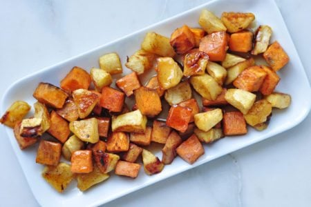 Roasted Apple Cinnamon Sweet Potatoes