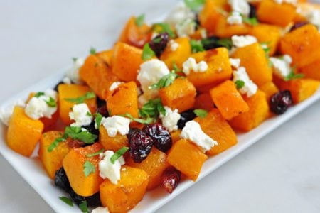 Honey Roasted Butternut Squash with Cranberries