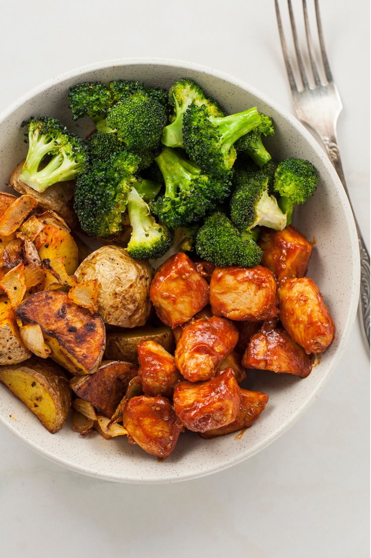 Skinny Chicken and Roasted Potato Bowl