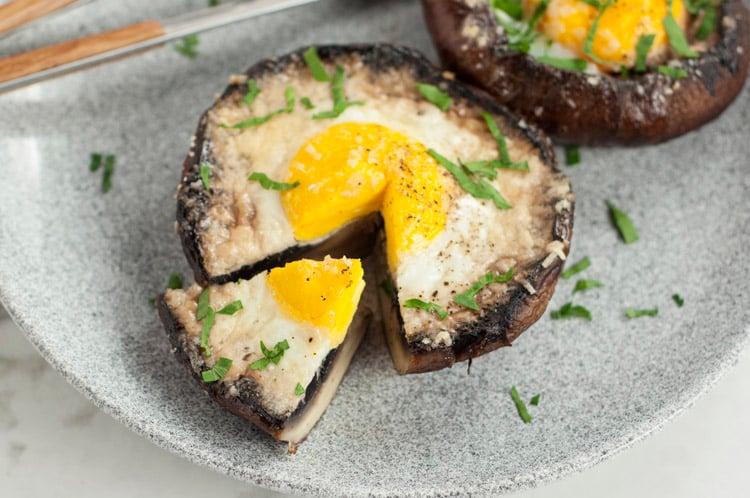 Egg Stuffed Baked Portobello Mushroom