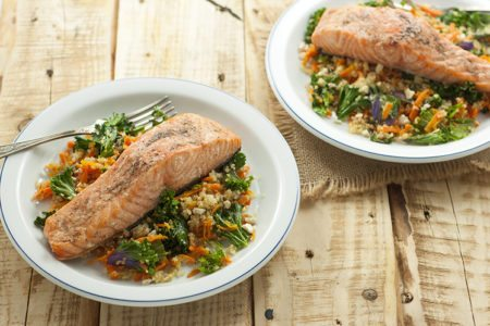 Skinny Salmon, Kale, & Cashew Bowl