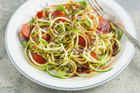 15-Minute Zucchini Noodle Tomato Salad with Balsamic Dressing