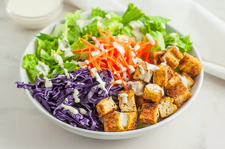 relieve stress with baked tofu chunks