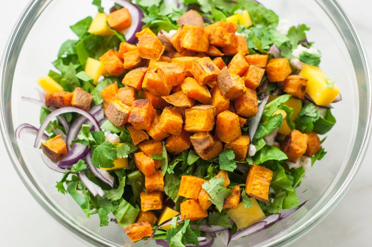 Curried Sweet Potato and Spinach Salad