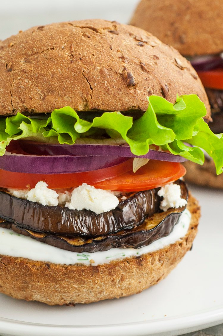 How To Make Mediterranean Grilled Eggplant Burgers With Cheese