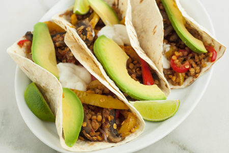 Mushroom Fajitas With Lentils Recipe