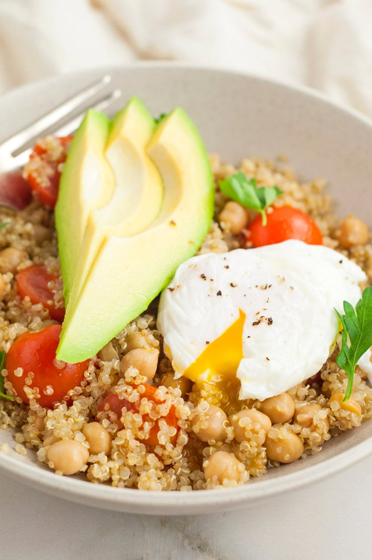 Perfect Avocado and Poached Egg Quinoa Bowl