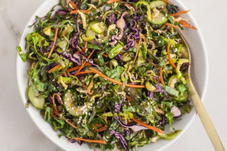 Sesame Kale Salad with Ginger Soy Dressing