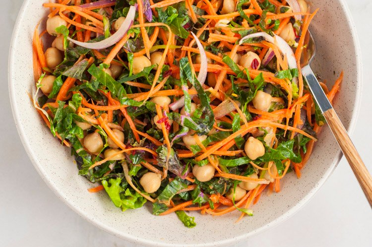Spicy Kale Salad with Chickpeas & Maple Dijon Dressing
