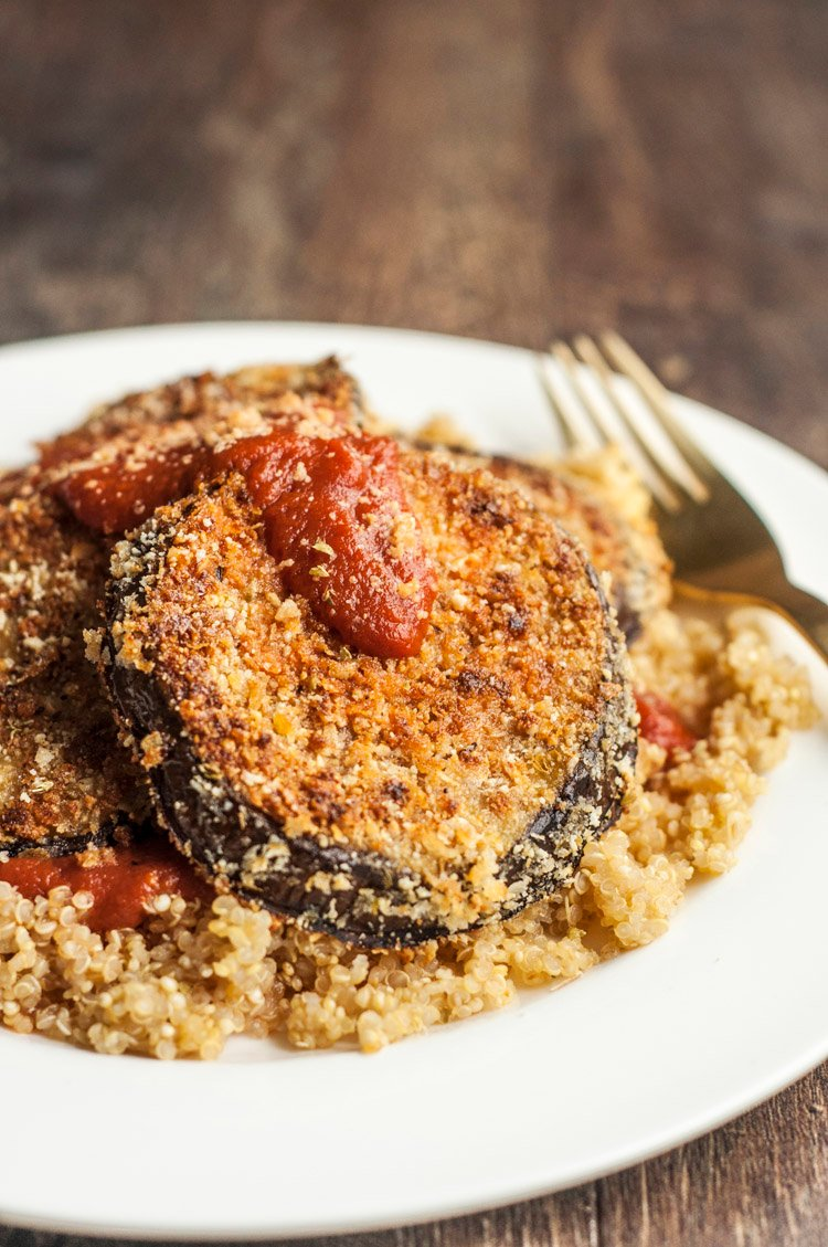 Easy Vegan Eggplant Parmesan Over Quinoa