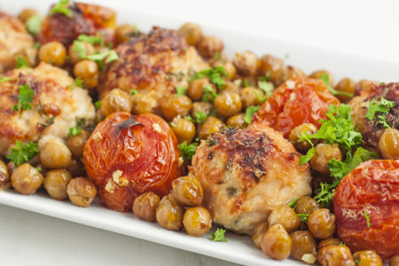 One Pan Mediterranean Chicken Meatballs, Tomatoes, and Chickpeas