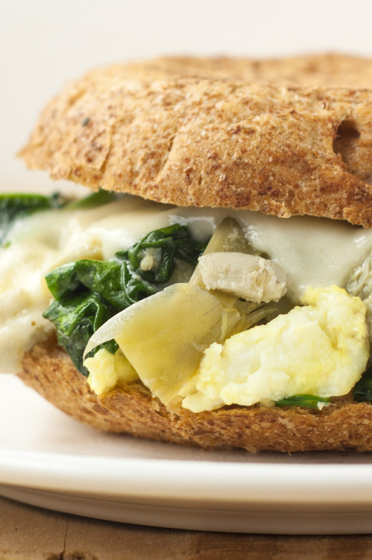 Spinach and Artichoke Breakfast Sandwich