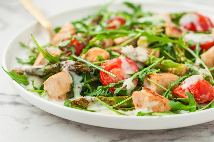 Warm Chicken Salad Over Arugula with Creamy Dill Dressing