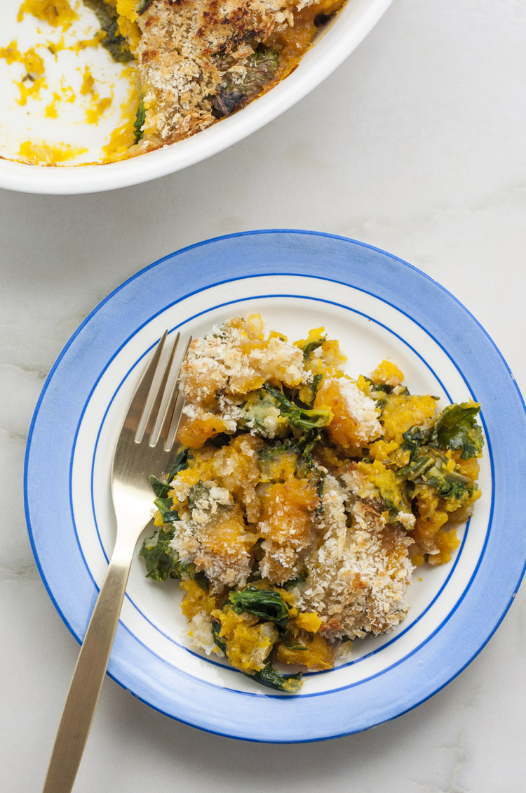 Squash and Kale Gratin Casserole | Vegetarian and Plant-Based