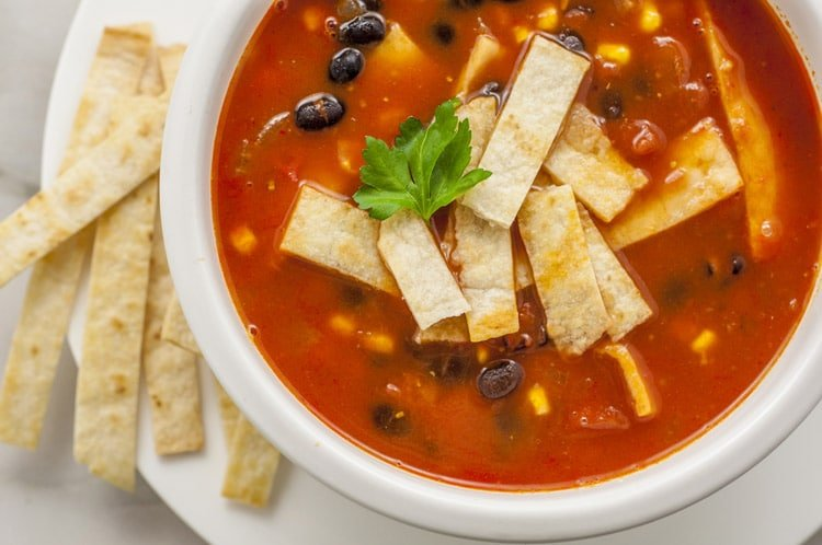 Vegetarian Tortilla Soup Recipe Low Calorie Plant Based