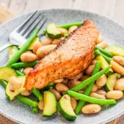 broiled salmon over warm butter beans