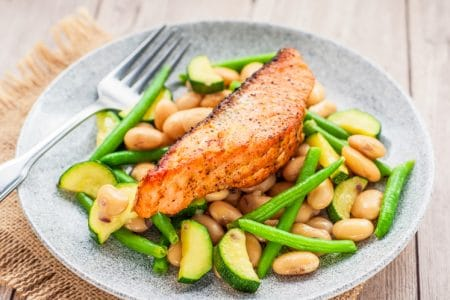 Broiled Salmon Over Warm Butter Bean and Green Bean Salad